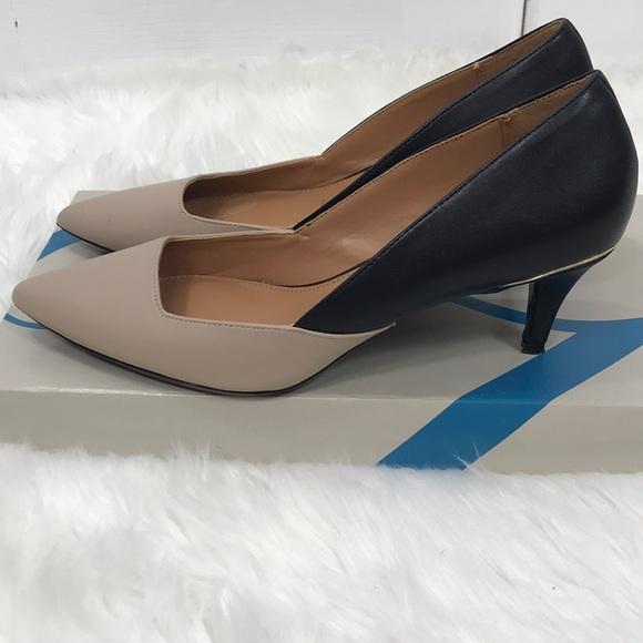 Calvin Klein Pumps Tan Black Low Heel
